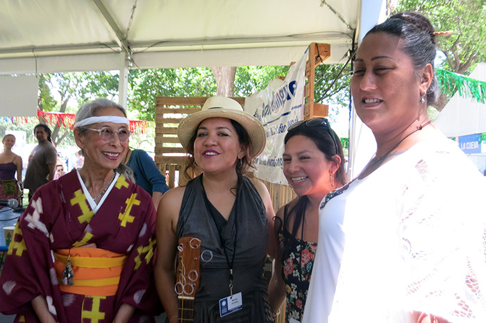 (L-R) Nobuko Miyamoto, Martha González, Chelis López, and Hina Wong-Kalu pose after their discussion session at the 2016 Folklife Festival. Photo by Sojin Kim